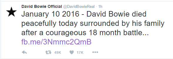 Bowie death Twitter announcement