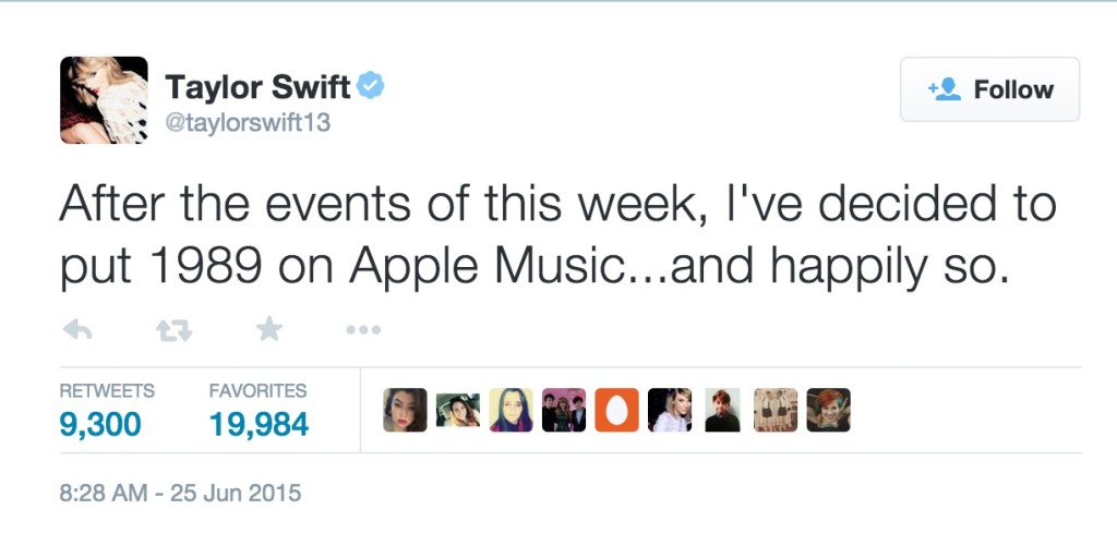 Taylor back with Apple copy